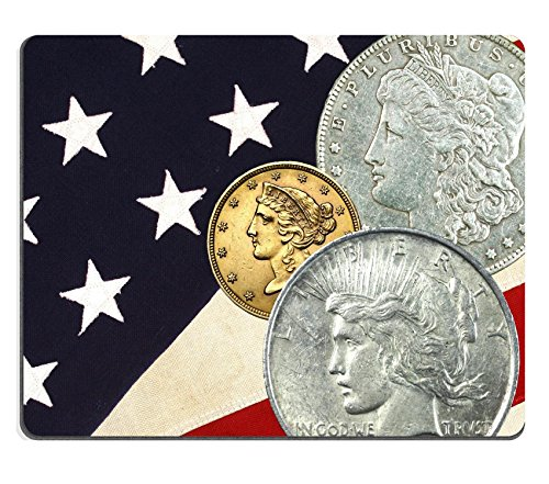 Price comparison product image MSD Natural Rubber Mousepad IMAGE ID: 9877789 Three faces of Liberty t b Morgan silver dollar gold 5 dollar Liberty Half Eagle silver Peace dollar