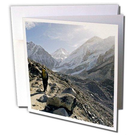 Danita Delimont - Nepal - Nepal, Khumbu, Trekker, Everest Base Camp Trail - AS26 DNY0030 - David Noyes - 6 Greeting Cards with envelopes (gc_132863_1)