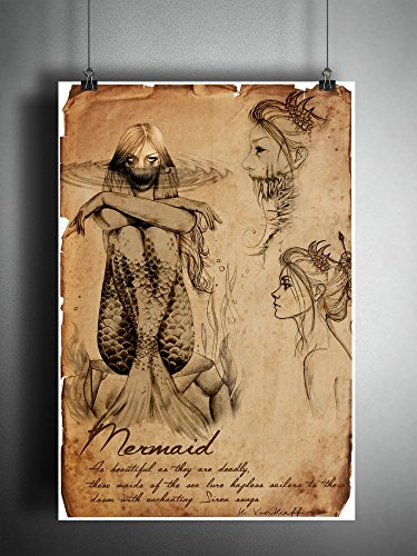 Mermaid art print, american folklore cryptid bestiary art -