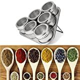 VT BigHome 6PCS Stainless Steel Magnetic Spice Storage Jar Tins Container with Rack Holder ping5.29/35%