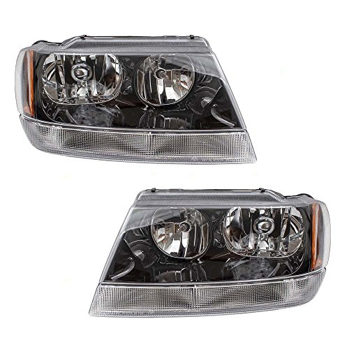 (Pair Set Headlights Headlamp Smoked Bezels w/Clear Park Lamps Replacement for 99-04 Jeep Grand Cherokee 55155129AJ 55155128AJ AutoAndArt)