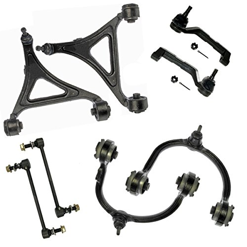 Detroit Axle - All (4) Complete Front Upper and Lower Control Arms + Ball Joints + Outer Tie Rod Links and Stabilizer Sway Bar Links for AWD Models ONLY