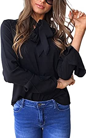 Angashion Womens V Neck Long Sleeve Bow Tie Flare Sleeve Blouse Solid Shirt Tops, Black, US 4/Tag S