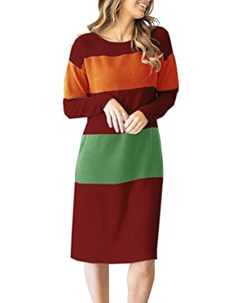 056e629ea108 Amazon.com: YOMISOY Womens Sweater Dresses Color Block Striped Long Sleeve  Casual Knit Midi Dress: Clothing