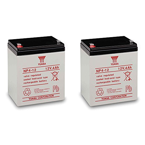 - Yuasa NP4-12 Battery 12 Volt 4 Amp Sealed Lead Acid Battery (2)