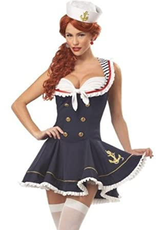 fe3a8aa2c Ladies Sexy Sailor Naval Costume Uniform Sea Cadet Fancy Dress Adult  Halloween Outfit (Medium)  Amazon.co.uk  Health   Personal Care