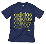 Adidas Youth Big Boys Athletic T-Shirt (X-Large (18), Navy/Yellow)