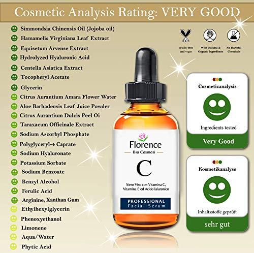 60ml. Bio Siero Viso con Acido Ialuronico Puro 100%. Biologico alla Vitamina C/E. Con Noti Agenti Antirughe, Antimacchie…