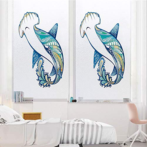 Abstract Home Decor 3D No Glue Static Decorative Privacy Window Films, Hammer Head Shark Ornate Underwater Sea Ocean Life Animals Marine Theme Image Decorative,17.7