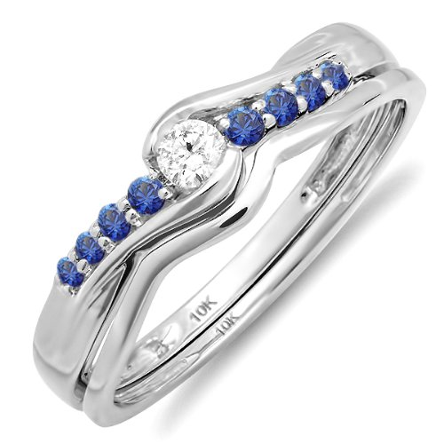 10k White Gold Blue Sapphire And White Diamond Ladies Bridal Engagement Wedding Ring Band Set (Size 7.5)