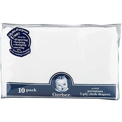 Gerber Diaper Bag (Gerber Childrenswear Diaper Gauze 10 Pack Prefolded - White)