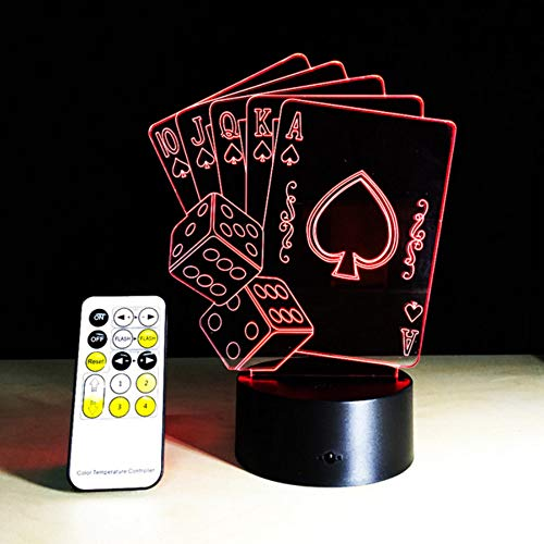 Zonxn 3D Illusion Poker Cards Sailboat Remote Control Led Desk Table Night Light 7 Color Touch Lamp Kids Family Holiday Gift