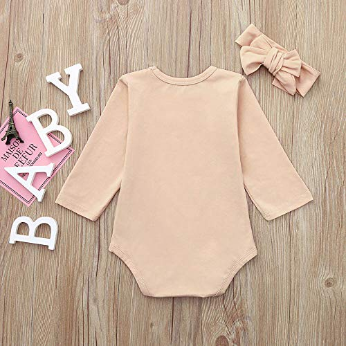 NUWFOR Newborn Infant Baby Boy Girl Letter Romper Bodysuit Headband Outfits Clothes Set(Beige,18-24 Months by NUWFOR (Image #3)