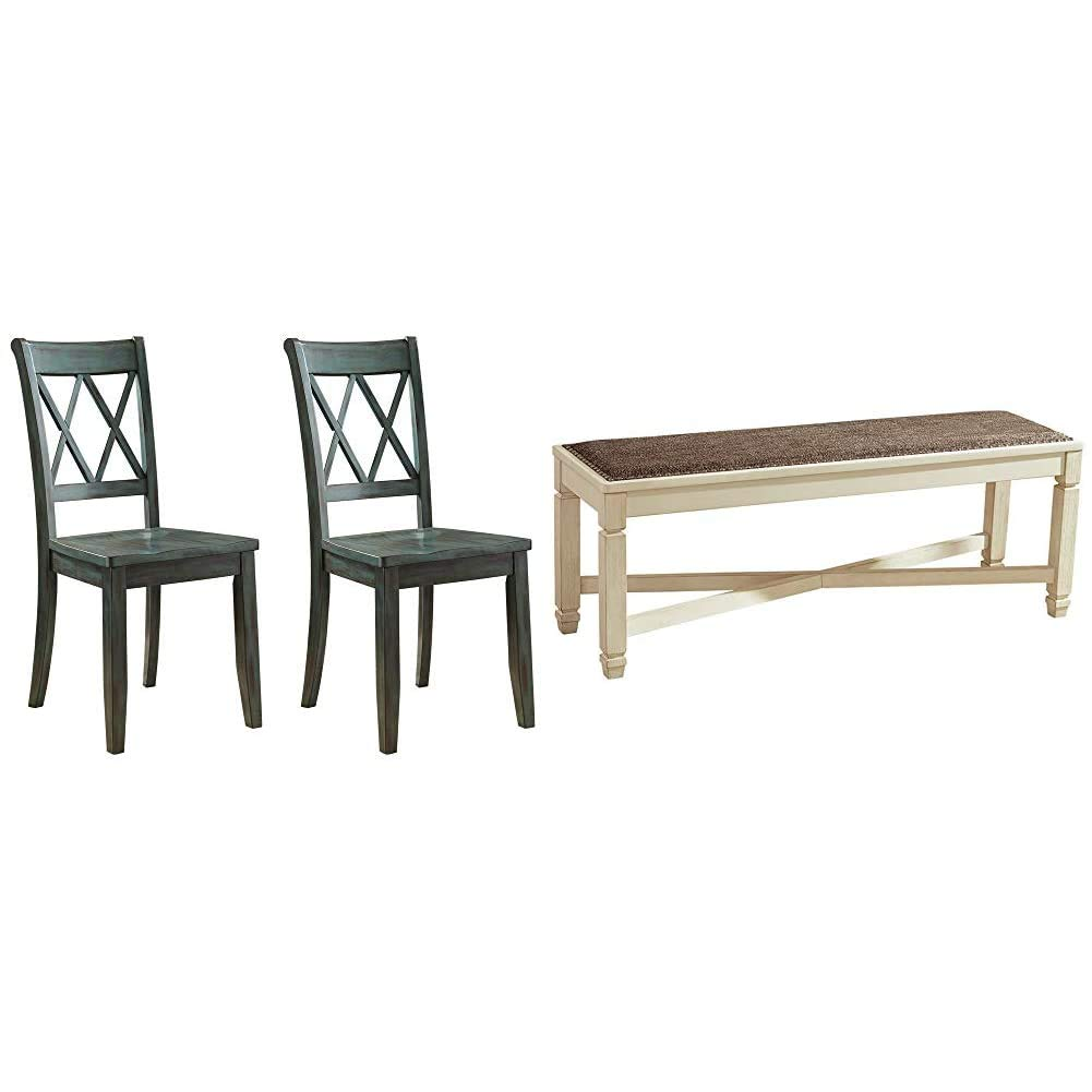 Ashley Furniture Signature Design - Mestler Dining Room Side Chair - Wood Seat - Set of 2 - Blue/Green & Bolanburg Upholstered Dining Room Bench - Two-Tone - Textured Antique White Finish