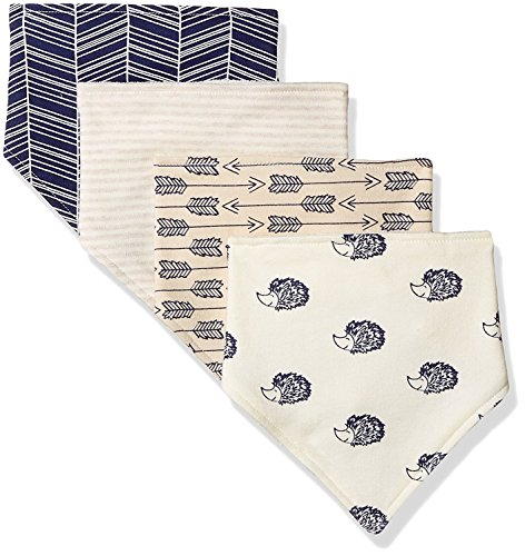 Touched by Nature Baby Organic Cotton Bandana Bibs 4-Pack, Hedgehog, 0-9 Months Bandana Bib