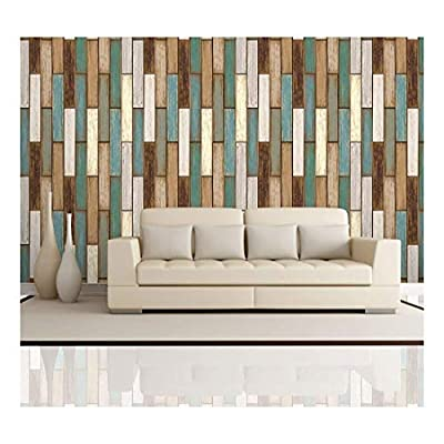 Vertical Retro Rich Earthy Colored Wood Textured Paneling Pattern - Wall Mural, Removable Wallpaper, Home Decor - 100x144 inches