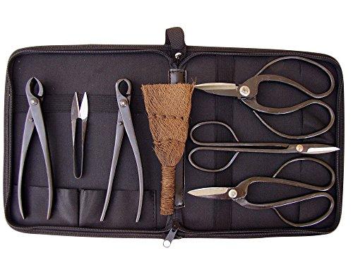 Bonsaiwerkzeugset I, schwarz, 6tlg., plus praktischer Werkzeugtasche