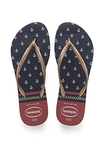 Havaianas Slim Nautical, Chanclas Para Mujer Azul (Navy/red)