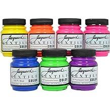 Jacquard Textile Color 7 Assorted Fluorescent Pigments Fabric Dye Airbrush Paint