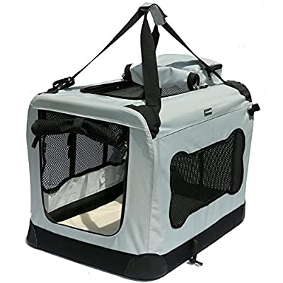 Portable Pet Crate, Deluxe Soft Sided Dog House Style Carrier by Mr. Peanut's, Extra Interior Space Reduces Anxiety, Designed for Pet Comfort with Fleece Bedding, Not For Airline Use