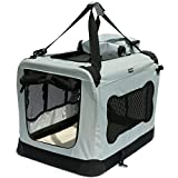 Soft Sided Pet Carrier with Steel Frame – Dog House Style Portable Pet Crate – Cats & Dogs – Designed for Comfort & Safety – Padded Fleece Bedding Washable Fabric Cover Locking Zipper (Twilight Gray)