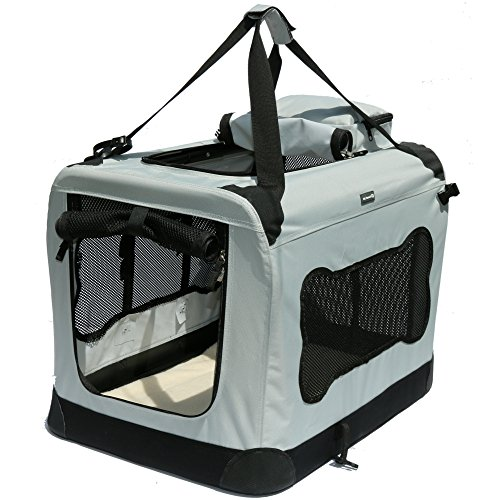 (Soft Sided Pet Carrier with Steel Frame - Dog House Style Portable Pet Crate - Cats & Dogs - Designed for Comfort & Safety - Padded Fleece Bedding Washable Fabric Cover Locking Zipper (Twilight Gray))