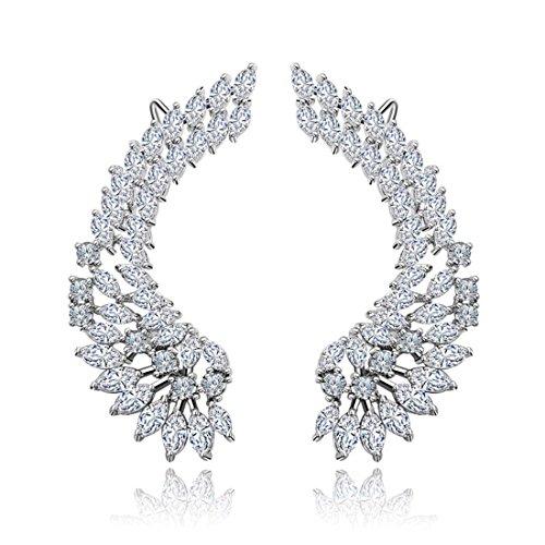 Ear Cuffs Climbers Pierced Clip On Earrings Angel Wings CZ Crystal Silver Tone Hypoallergenic Crystal Silver Tone Earrings