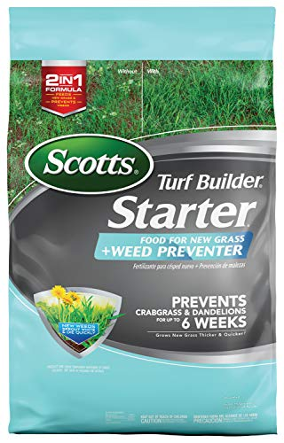 Scotts Turf Builder Starter Food for New Grass Plus Weed Preventer - 2-in-1 Formula - Fertilizes New Grass and Prevents Weeds like Crabgrass and Dandelions - Covers 5,000 sq. ft. (Best Way To Weed And Feed Lawn)