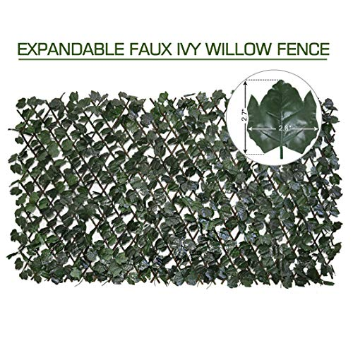 - Expandable Fence Privacy Screen for Balcony Patio Outdoor,Decorative Faux Ivy Fencing Panel,Artificial Hedges (Single Sided Leaves)