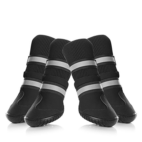 Petacc Dog Shoes Waterproof Dog Boots Anti-slip Snow Boots Warm Paw Protector for Dog in Winter Size S with Black