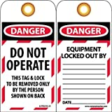 NMC LOTAG10-25 Lockout Tag, ''DANGER DO NOT OPERATE'', 3'' Width x 6'' Height, Unrippable Vinyl, Red/Black on White (Pack of 25)