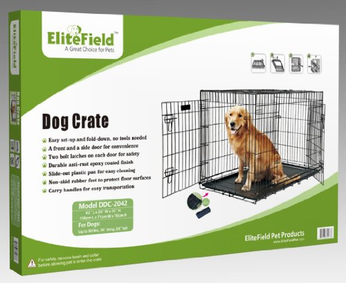 "EliteField 2-Door Folding Dog Crate with Rubber FEET, 5 Sizes, 10 Models Available (2-Door Crate, 42"" L x 28"" W x 30"" H)"