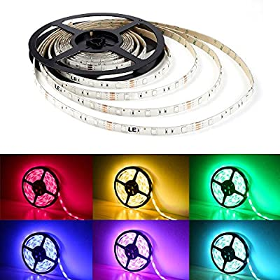 LE 12V Flexible RGB LED Strip Lights, LED Tape, Multi-colors , 150 Units 5050 LEDs, Waterproof, Light Strips, Pack of 16.4ft/5m