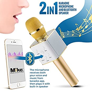 Wireless Microphone Karaoke Mic Amplifier Machine Bluetooth Handheld Portable Broadcast, Present, Youtube Songs Connect Android, Apple & Computers – By Karaoke-mike(gold) 3