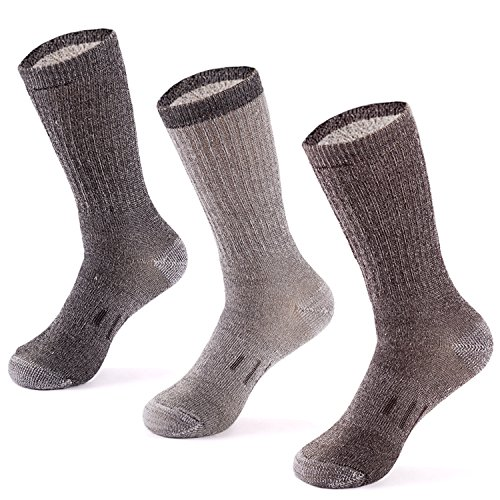 MERIWOOL 3 Pack Merino Wool Crew Socks - (Washable Wool Rib)