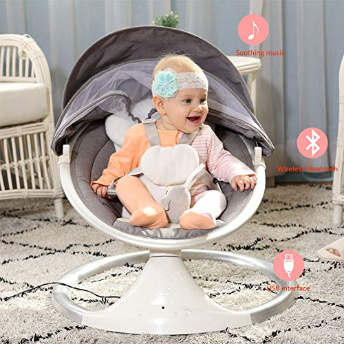 MAG.AL USB Intelligent Touch Button Music Appease Infant Rocking Chair Loungers, Bluetooth Can be Connected USB Sleepy Neonatal Swing Electric Cradle, Intelligent Timing,Gray