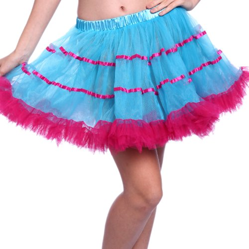 1980s Vintage Retro Swing Ruffled Layered Striped Tulle Rave Rara Party Tutu Skirts Fancy Dress (Turquoise/neon (80s Womens Fancy Dress)