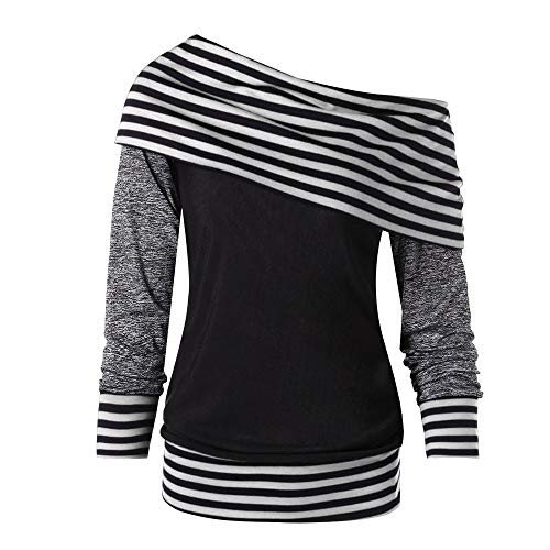 (Most Wished! Teresamoon Women Bow-Neck Long Sleeve Striped PatchWord Pullover Color Block Sweatshirt Top)