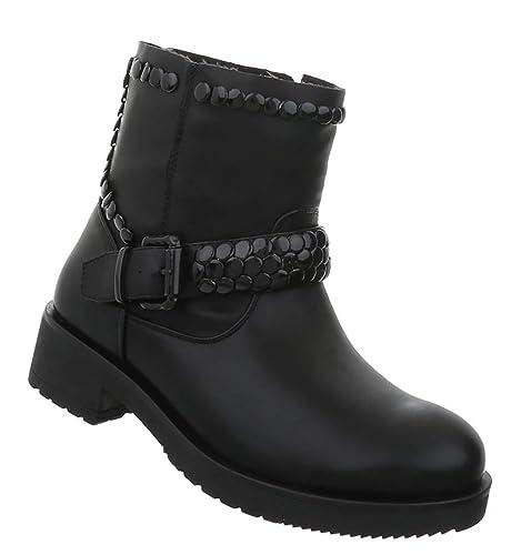 Damen Stiefel Schuhe Stiefeletten Biker Rocker Stiefel Schallen Stiefel Damen ... ca9ea5