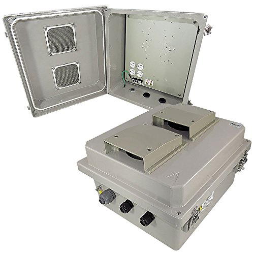 Altelix 14x12x8 Fiberglass Vented Weatherproof NEMA Enclosure with 120 VAC Outlets and Aluminum Equipment Mounting Plate