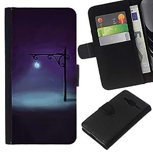 KLONGSHOP // Tirón de la caja Cartera de cuero con ranuras para tarjetas - Noche Lámpara Luz brillante Deep Dark - Samsung Galaxy Core Prime //