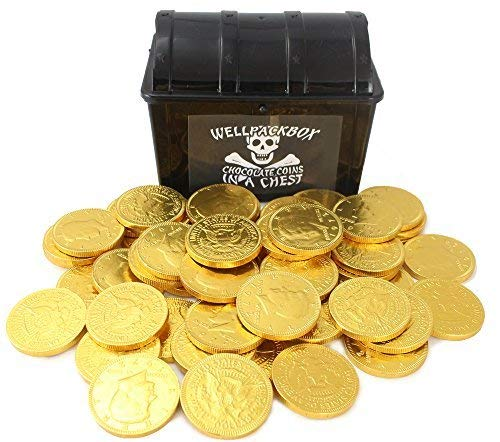 """Plastic Pirate Treasure Chest Box 5.5"""" x 3.5"""" x 3"""" Including 50 Gold Belgian Milk Chocolate Coins by Well Pack Box"""