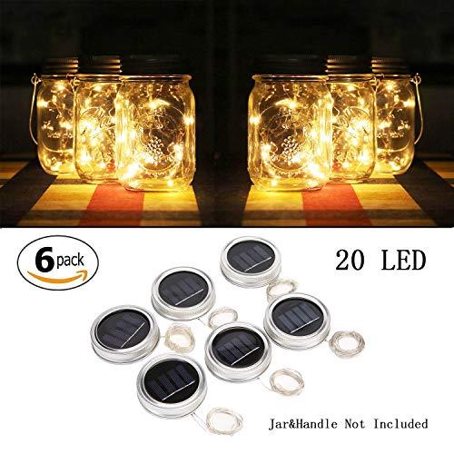 - Sunlane 6 Pack Solar Mason Jar Lights, 20 Led String Fairy Firefly Lights Lids Insert for Regular Mouth Jars, Mason Jar,Patio,Lawn,Garden Decor (6, Warm White-20 LED)