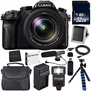 Panasonic Lumix DMC-FZ2500 Digital Camera DMC-FZ2500 + DMW-BLC12 Lithium Ion Battery + External Rapid Charger + 32GB SDHC Class 10 Memory Card + Flexible Tripod + Memory Card Wallet + Flash Bundle