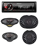 Pioneer MVH-S215BT Stereo Single DIN Bluetooth In-Dash USB MP3 Auxiliary AM/FM/Digital Media Pandora and Spotify Car Stereo Receiver With pair of 6.5' and pair of 6x9' Alphasonik Speakers