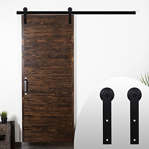 Door Black Steel (LWZH American Style 9FT Sliding Barn Door Steel Hardware Kit for Single Door(Black I-Shaped Hangers))