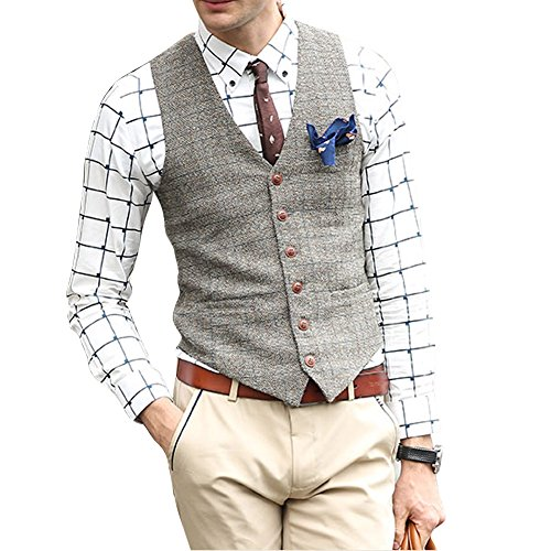 Zicac Men's Unique Advanced Custom Vest Skinny Wedding Dress Waistcoat (L,Light Gray)