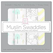 SwaddleDesigns Cotton Muslin Swaddle Blankets, Set of 4, SeaCrystal Woodland Fun