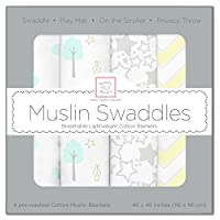SwaddleDesigns Cotton Muslin Swaddle Blankets, Set of 4, SeaCrystal Woodland ...
