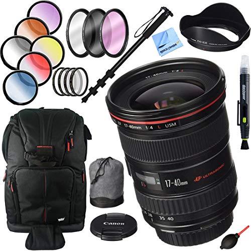 Canon EF 17-40mm F/4 L USM Lens with 77mm Filter Sets Plus Accessories Bundle